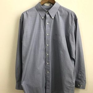Jos A Bank Blue Plaid Dress Shirt Travelers L